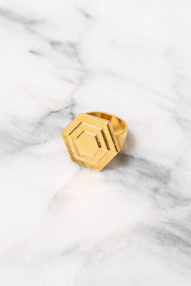 gold hexagon Art Deco statement ring