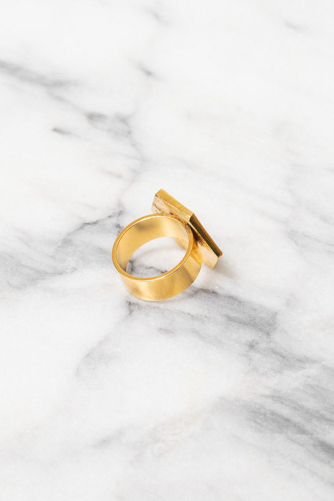 gold Art Deco hexagon statement ring