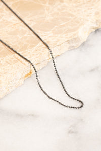 oxidized silver ball chain necklace