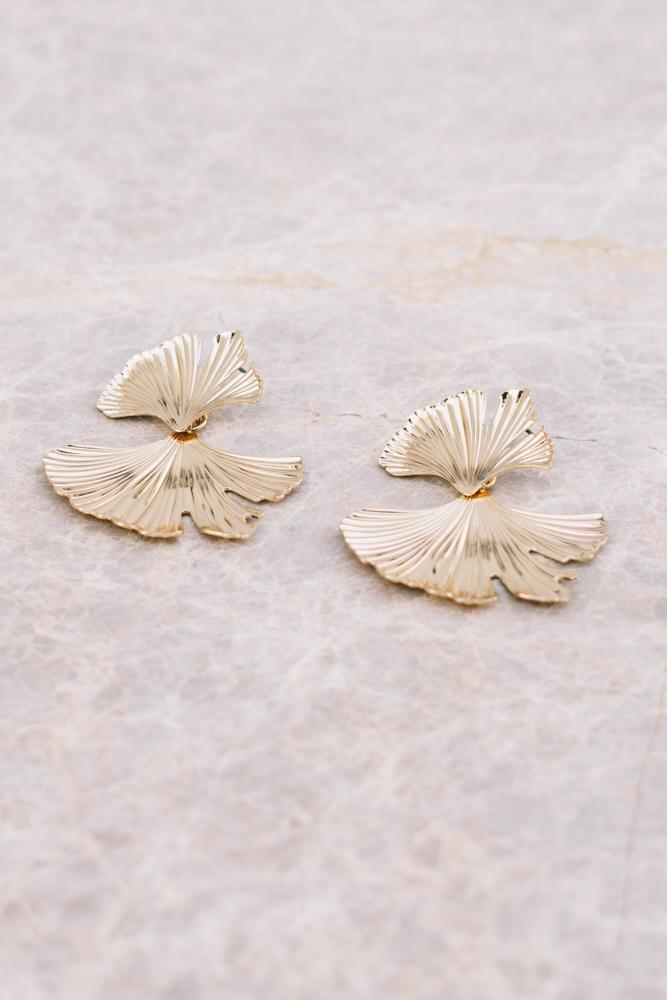 gold ginkgo leaf shaped earrings