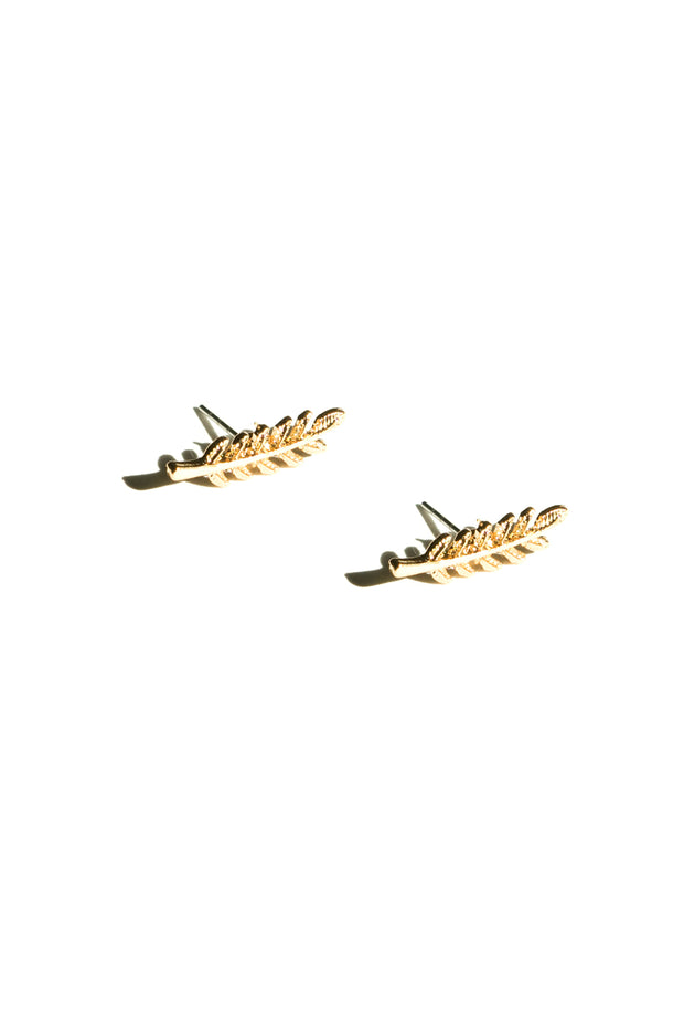 Lily leaf ear climbers | 18K Yellow Gold Plating | Janna Conner