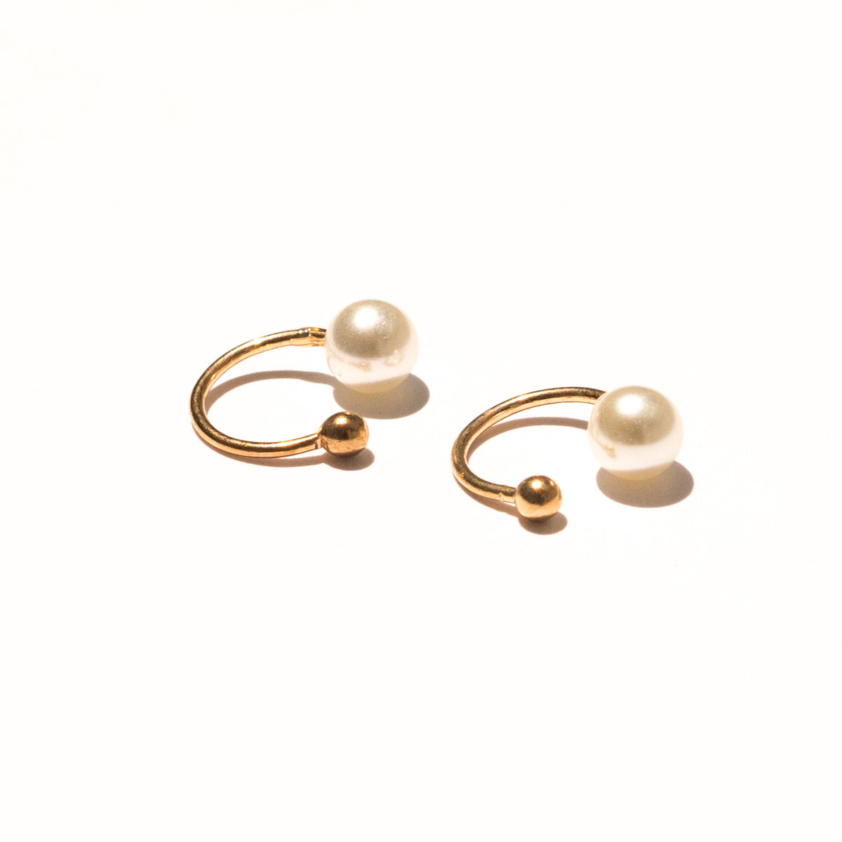 gold pearl ear cuff earrings