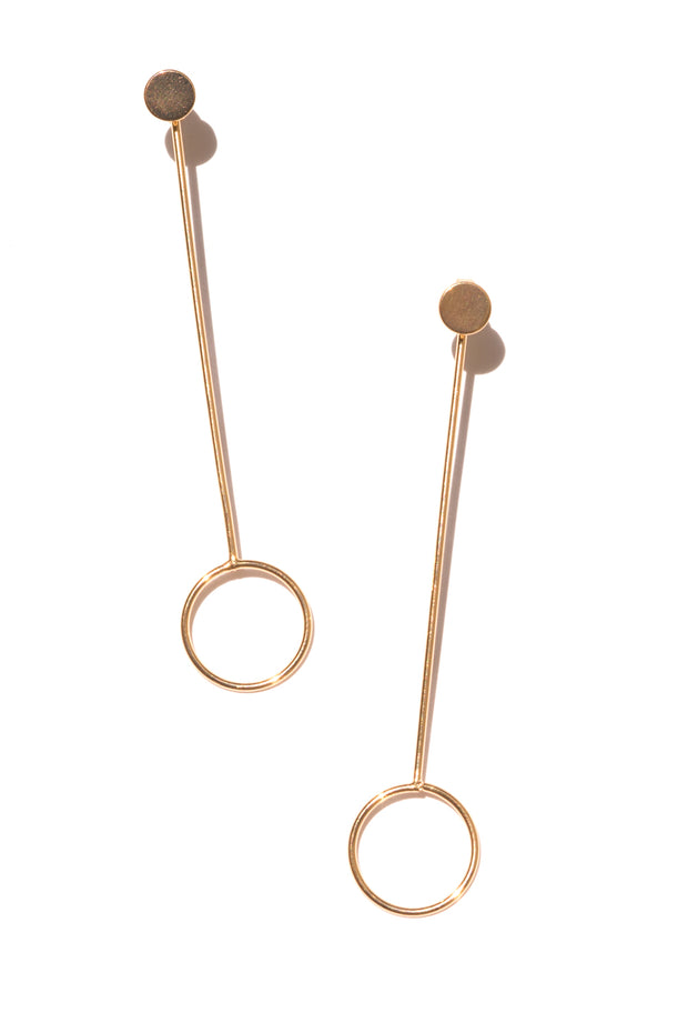 Jayden | Circle Stick and Stud Earrings | 18K Gold Plating | Janna Conner