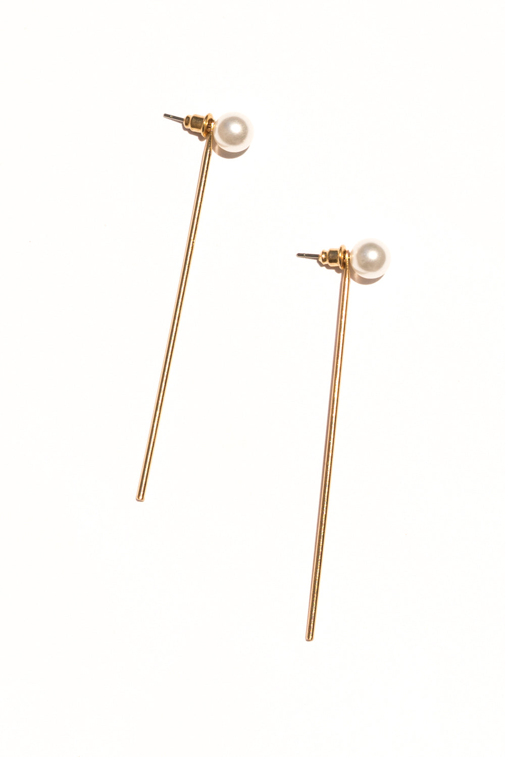 pearl stick ear jacket earrings