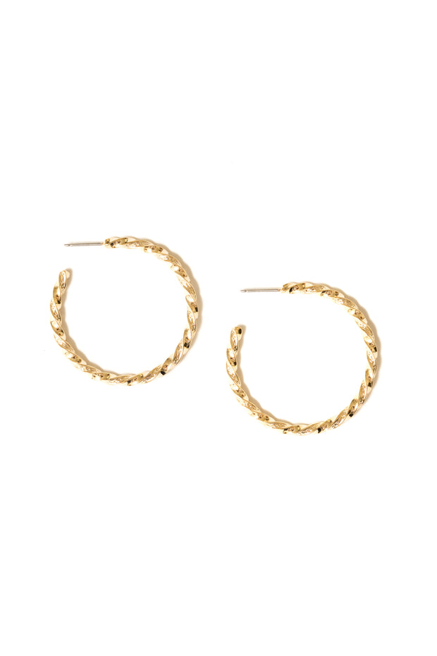 Lathan Twisted Wire Hoops | 18K Gold Plating | Janna Conner