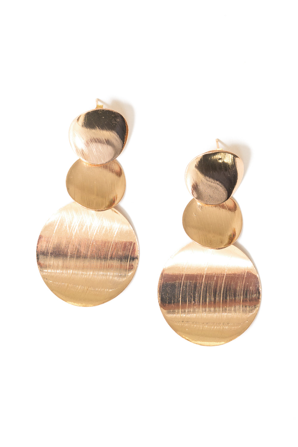 gold tiered disc chandelier earrings