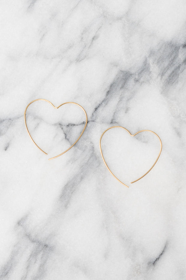 Heart Hoop Earrings | 18k Gold Plating | Janna Conner