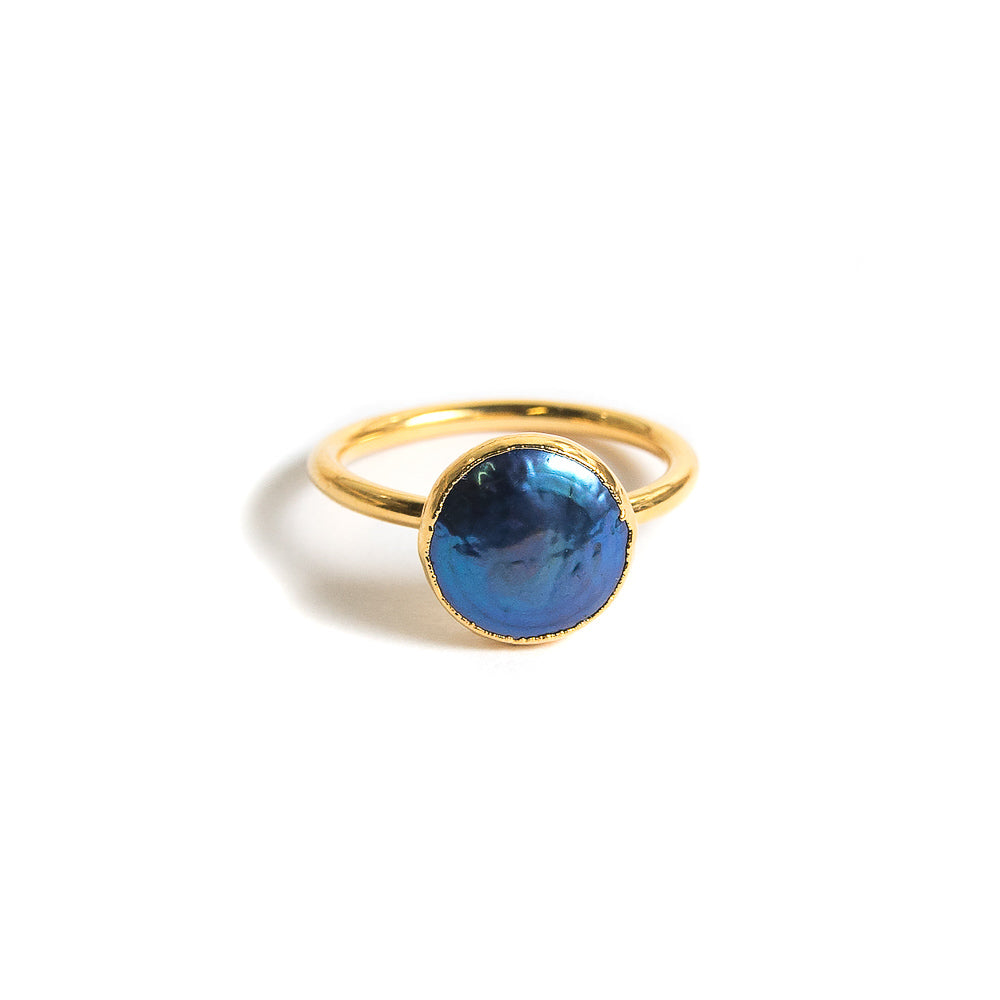 navy pearl stacking ring front view