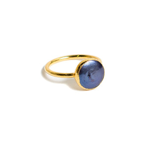 navy coin pearl stacking ring