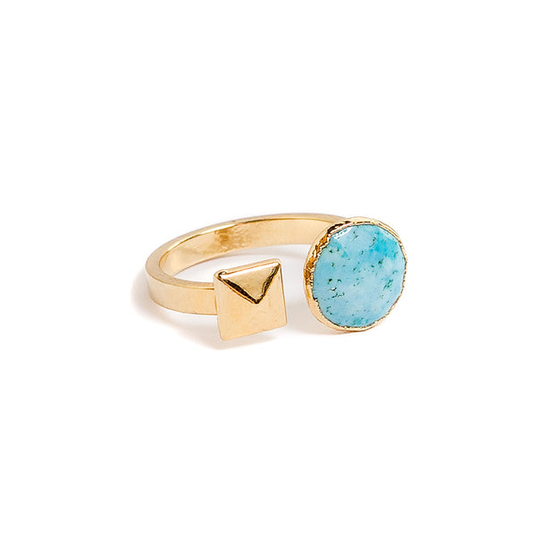 turquoise and pyramid stud open ring