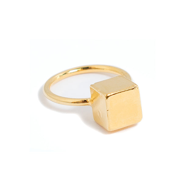 Sherry Cube Stacking Ring | 18k Gold Plating | Janna Conner