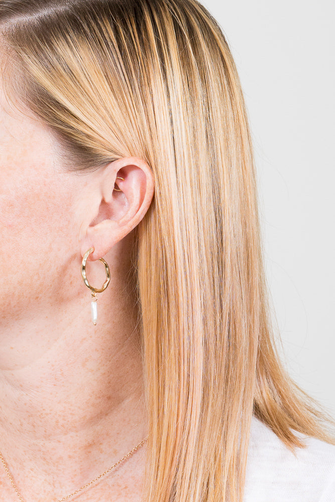 pearl hoop earrings gold on model