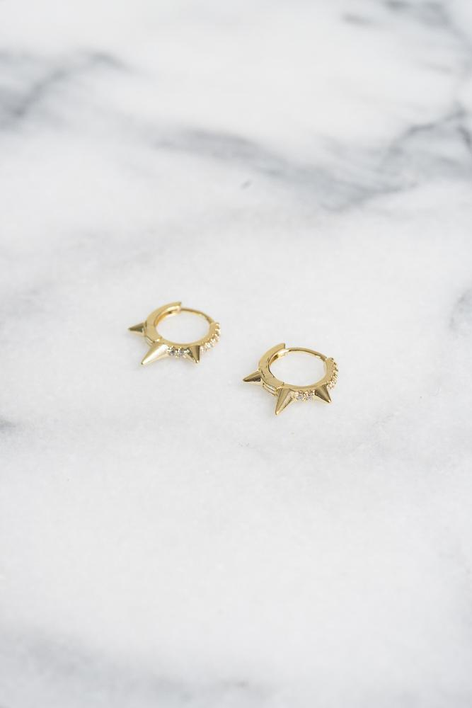 gold spike huggie hoop earrings