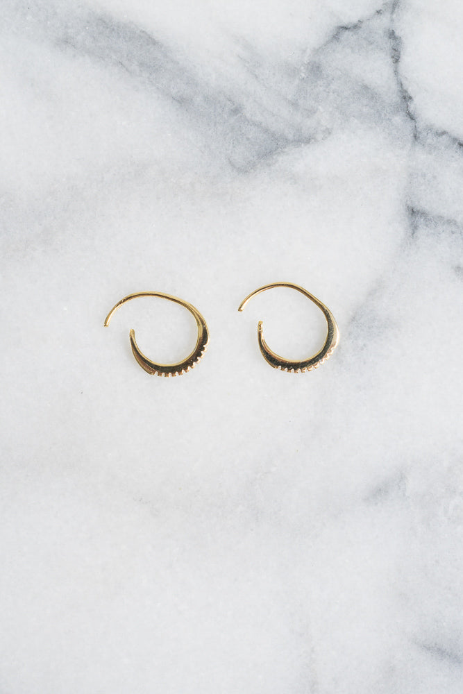 gold hoop earrings with c.z. pave