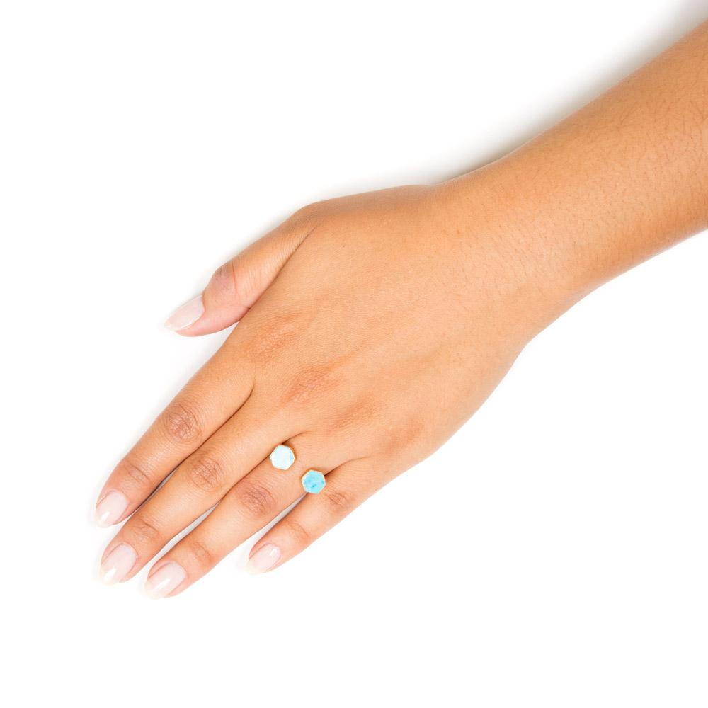turquoise hexagon stacking ring on hand