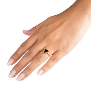 triangle stacking ring on hand