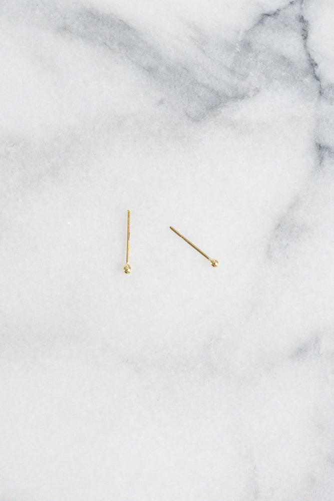 tiny minimal gold ball stud earrings