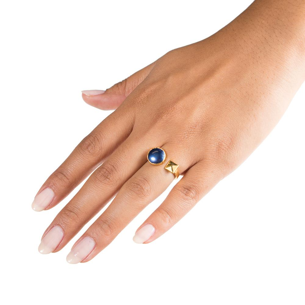 navy pearl pyramid stud open ring