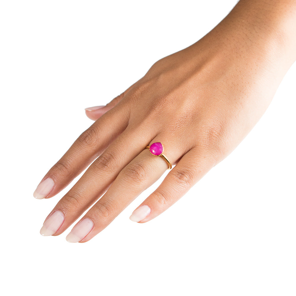 Inna Stacking Ring | Pink Chalcedony |  18k Gold Plating | Janna Conner