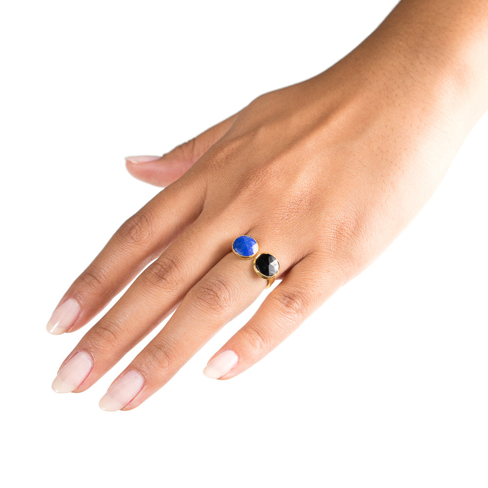 lapis and spinel open ring on hand
