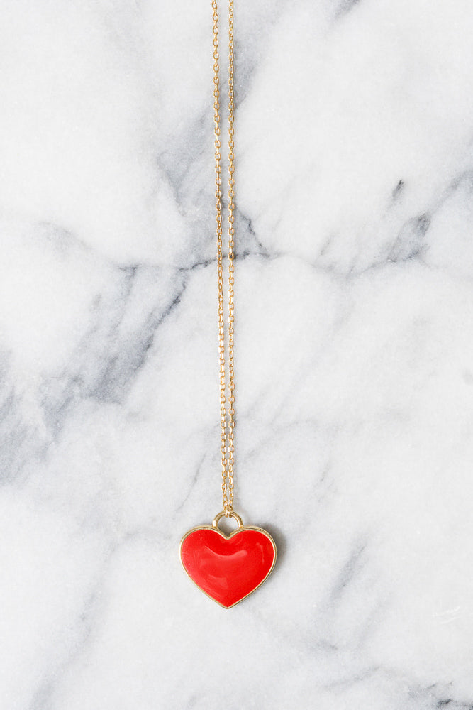 Red Enamel Heart Necklace | 18k Gold Plating | Janna Conner