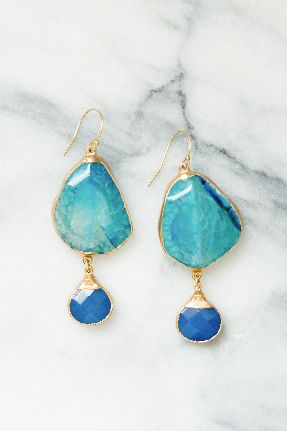 TQ Fire Agate and Cobalt Jade Drop Earrings | | Janna Conner
