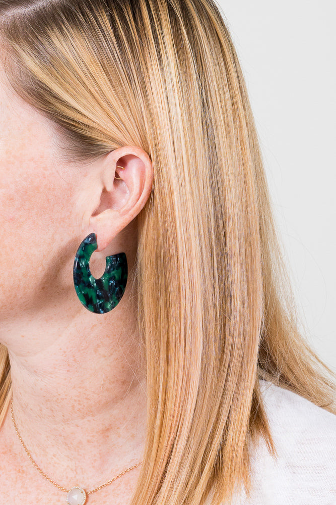 Cade Hoop Earrings | Green Acrylic | Janna Conner