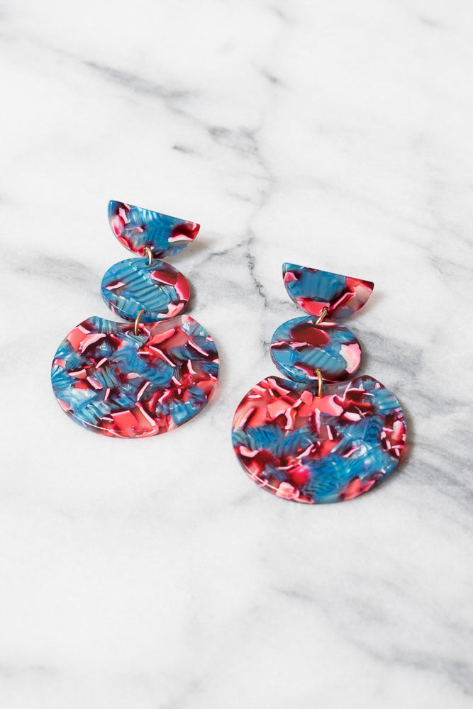 blue and red acrylic dangle earrings