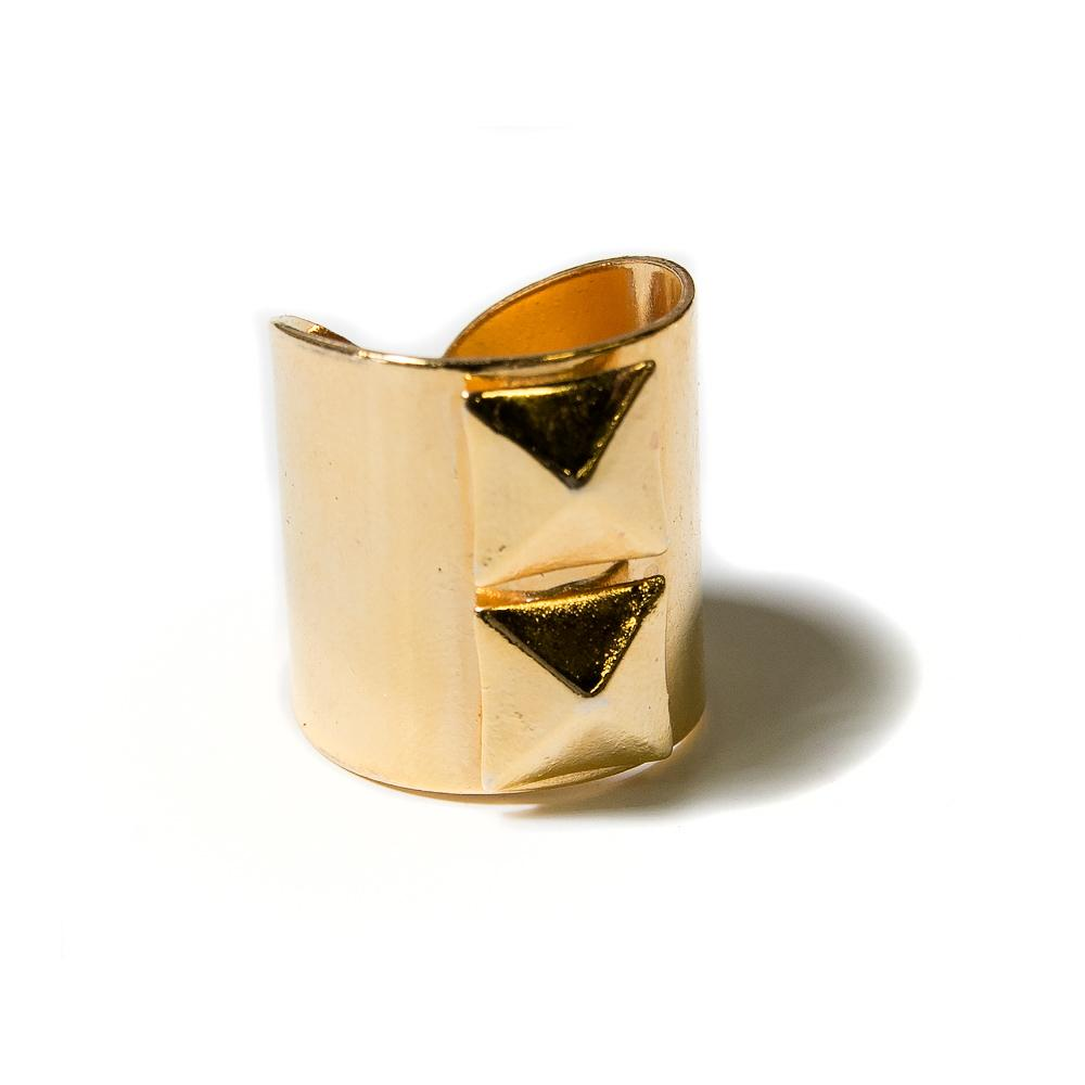 gold pyramid stud cigar band ring