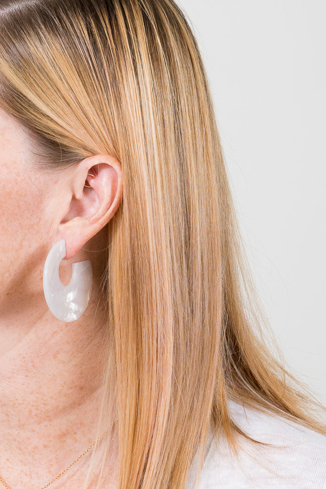 Cade Hoop Earrings | Snow Acrylic | Janna Conner