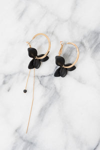 black flower hoop earrings