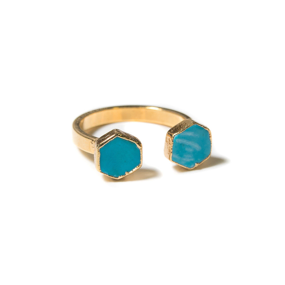 turquoise hexagon open ring
