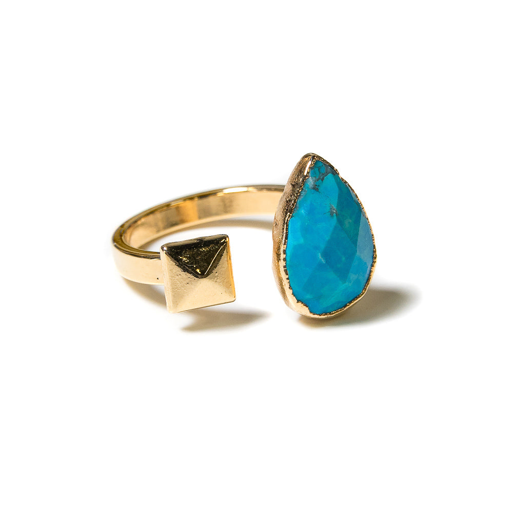 turquoise teardrop open stone ring with gold stud accent
