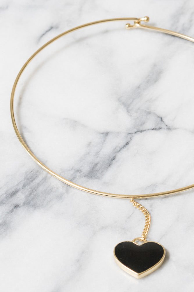 Black Enamel Heart Choker | 18k Gold Plating | Janna Conner