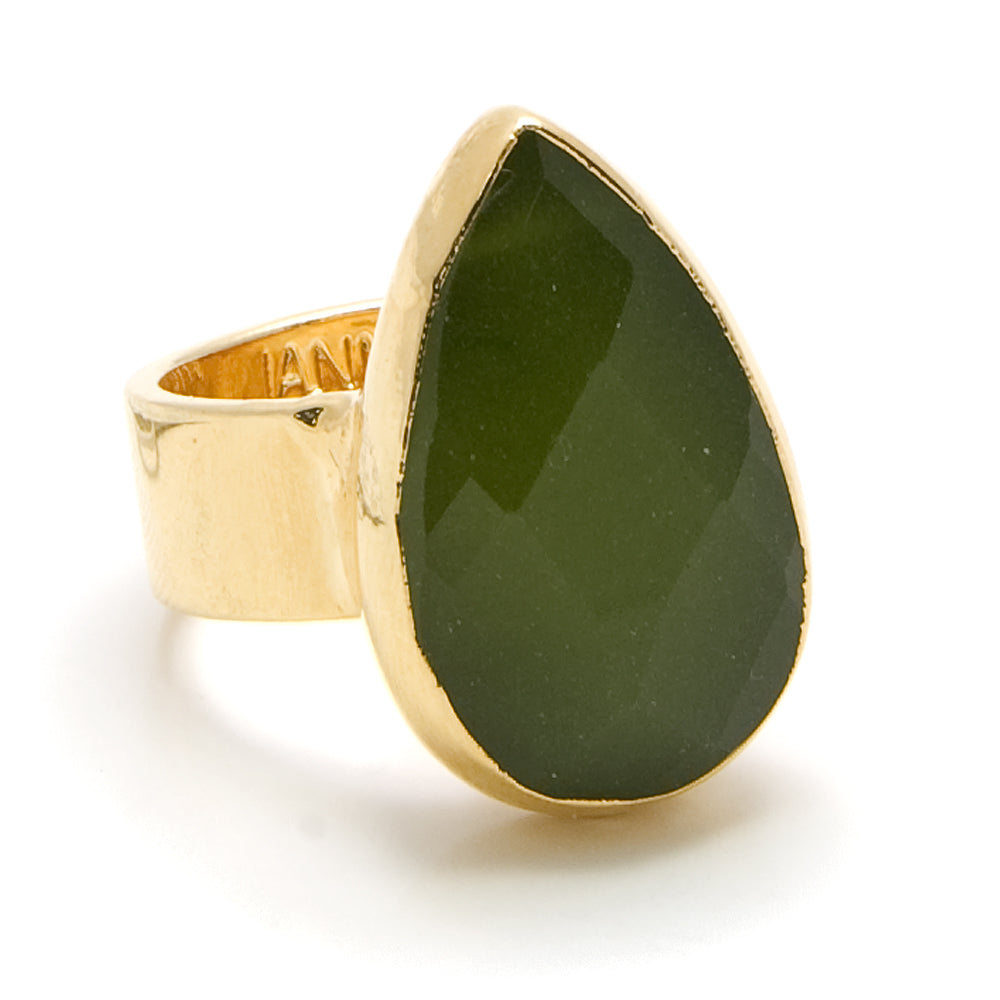 olive jade teardrop ring
