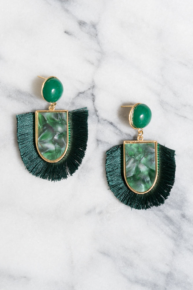 Winola Fringe Earrings | Emerald Green Acrylic | Janna Conner