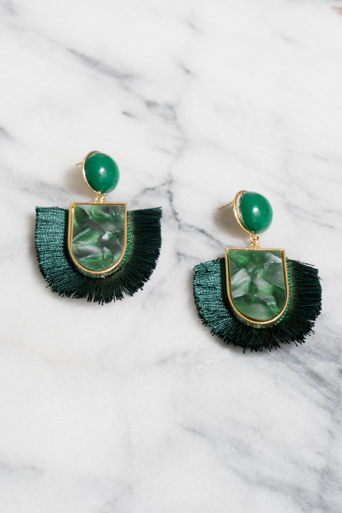 green acrylic fringe earrings