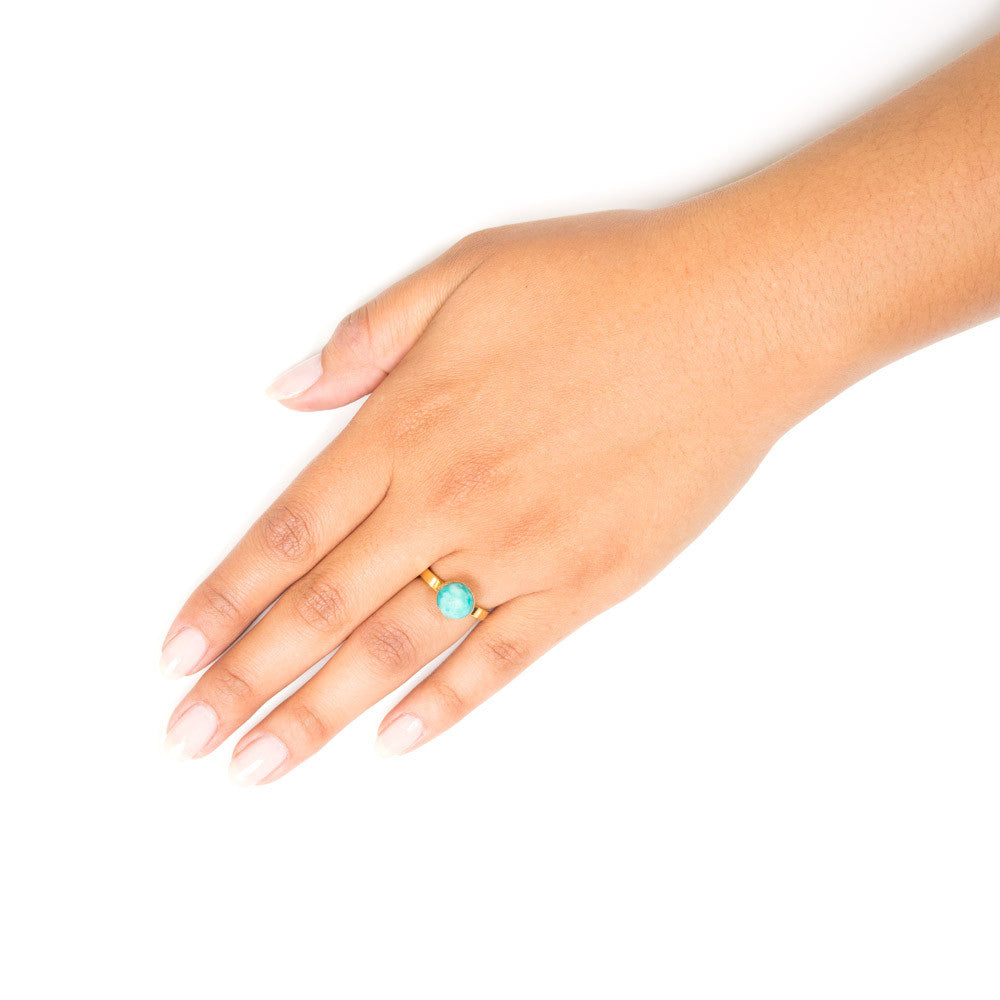 Bunmi Ring | Russian Amazonite | 18k Gold Plating | Janna Conner | Sale