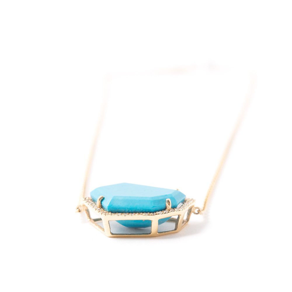 Cubist Necklace | Sleeping Beauty Turquoise and Diamond Pavé |14K Gold | Janna Conner