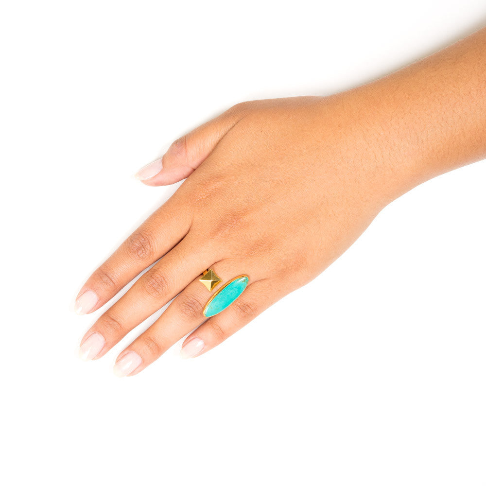 turquoise marquis gold pyramid stud open ring