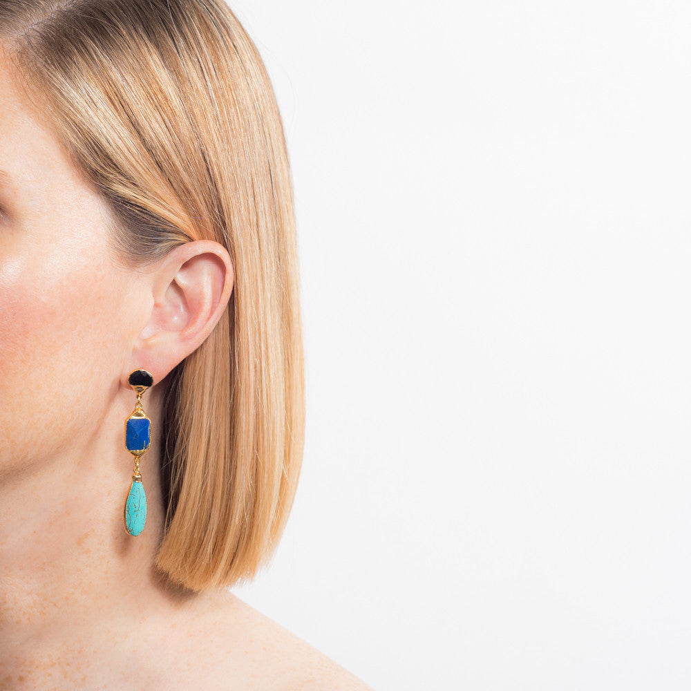 6449E Camila Drop Earrings in Spinel/Lapis/TQ