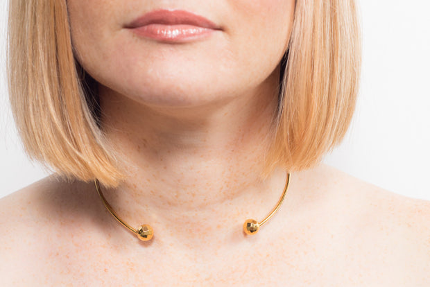 Meri Gold Bead Choker Necklace | 18k Gold Plating | Janna Conner | Sale