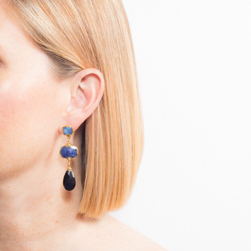 6449E Camila Earrings in Blue Qtz/Sodalite/NvyGldstn