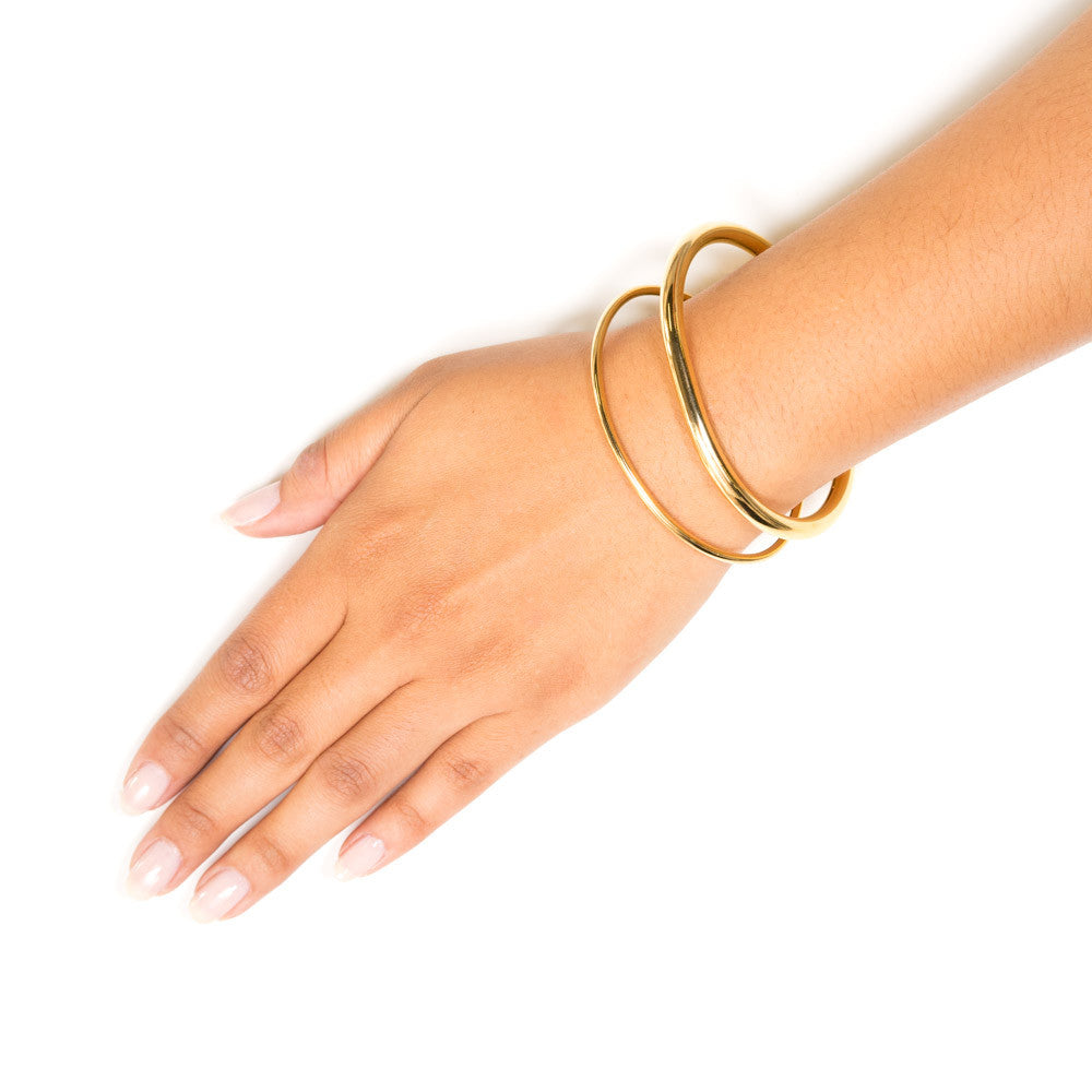 Olivia | Oval Bangle Set | 18K Gold Plating | Janna Conner