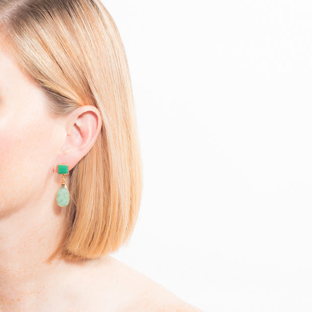 6293 Laka Earrings in Malachite/Aventurine