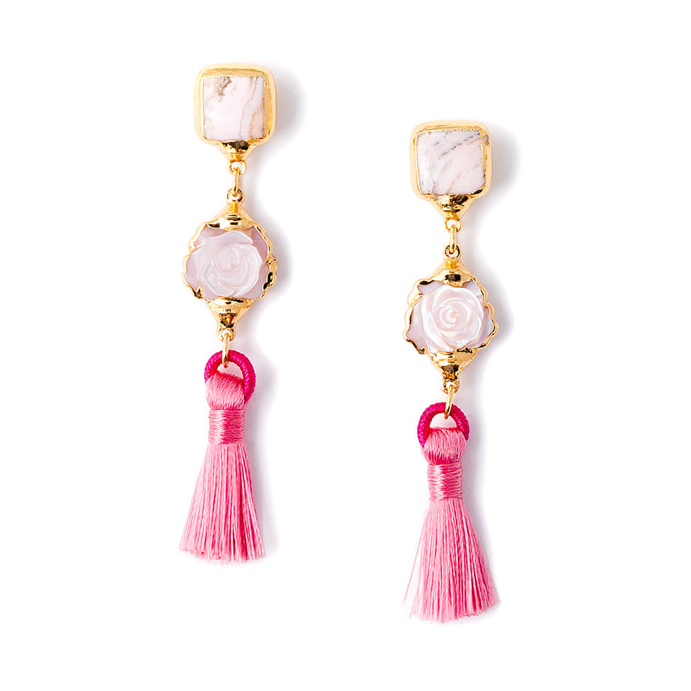 6447E Hazel Earrings in Rhod/Pink MOP