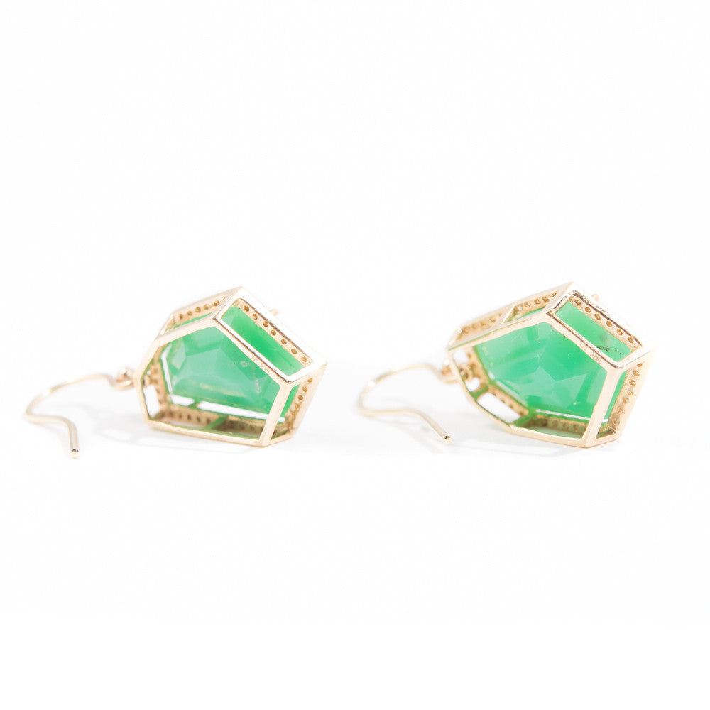 chrysoprase and diamond pave gold earrings Janna Conner on model
