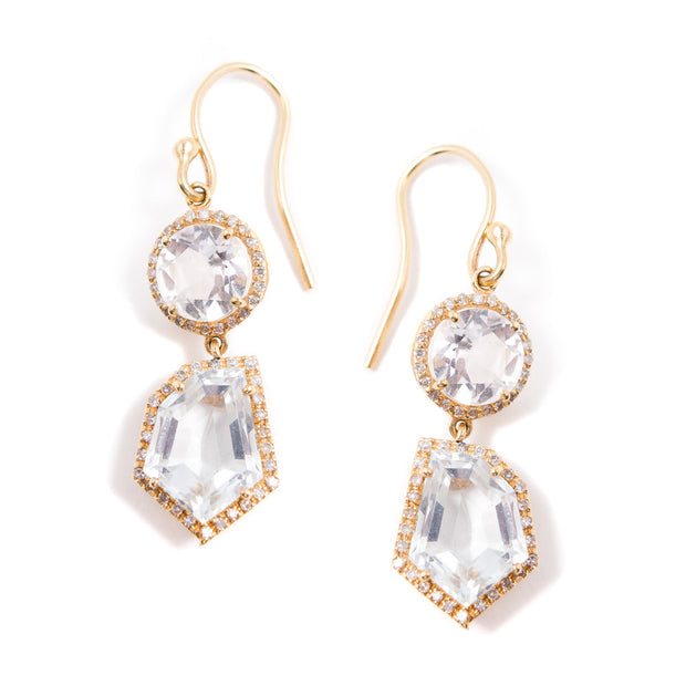 Petite Cubist Drop Earrings | White Topaz | 14K Gold | Janna Conner