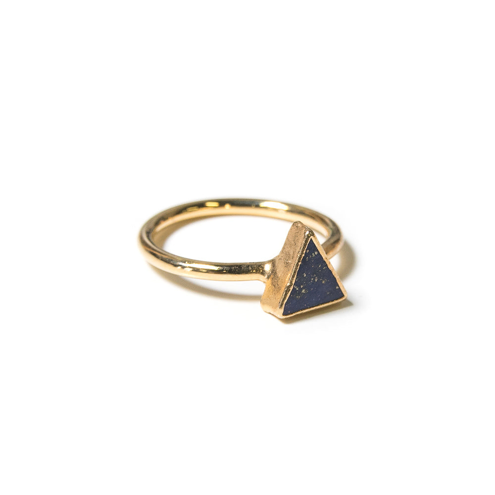 lapis lazuli triangle stacking ring