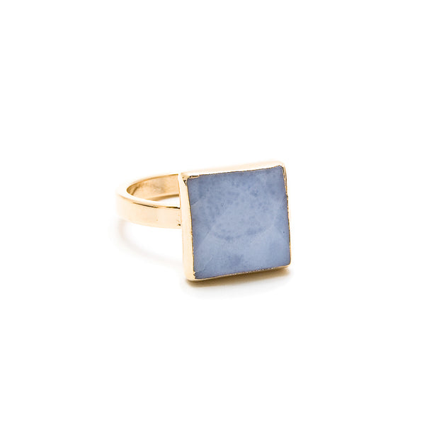 blue lace agate square stacking ring